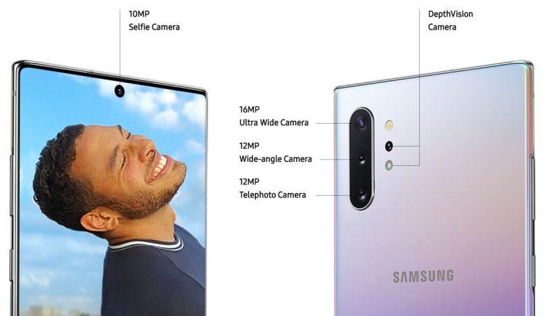 Galaxy Note 10+のフロントカメラ、バックカメラのクアドレンズ