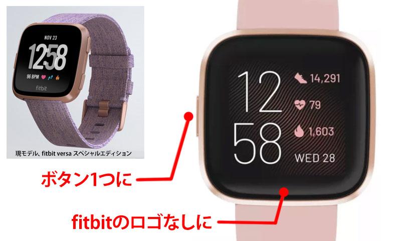 次世代fitbit versa 2 リーク製品画像とfitbit versa の比較(ボタン)