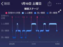 fitbit アプリ:睡眠ステージ(レム睡眠、浅い睡眠、深い睡眠)