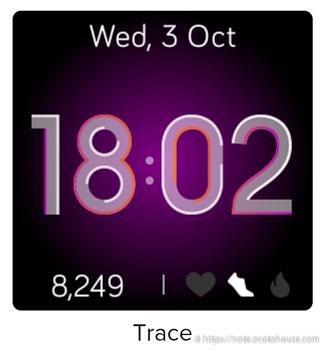 fitbit versa lite デフォルト時計文字盤「Trace」