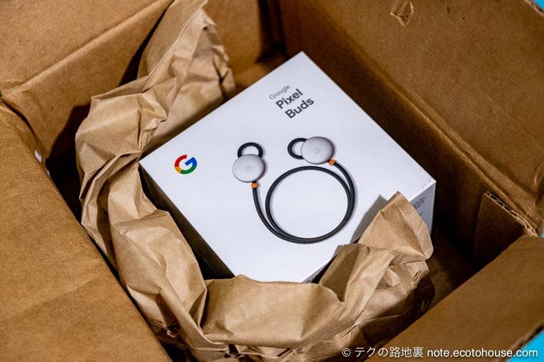 Google Pixel Buds 開封の儀 ダンボール箱あけたところ