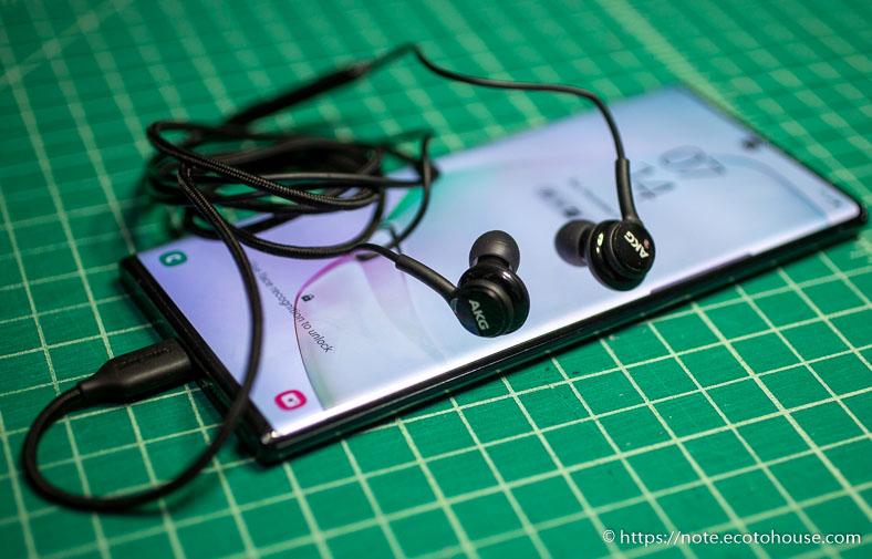 スマートフォンGalaxy Note10+イヤホン