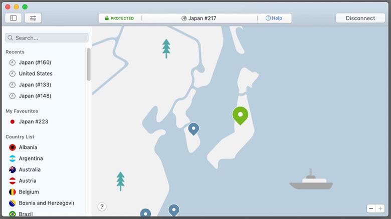 NordVPNアプリの画面